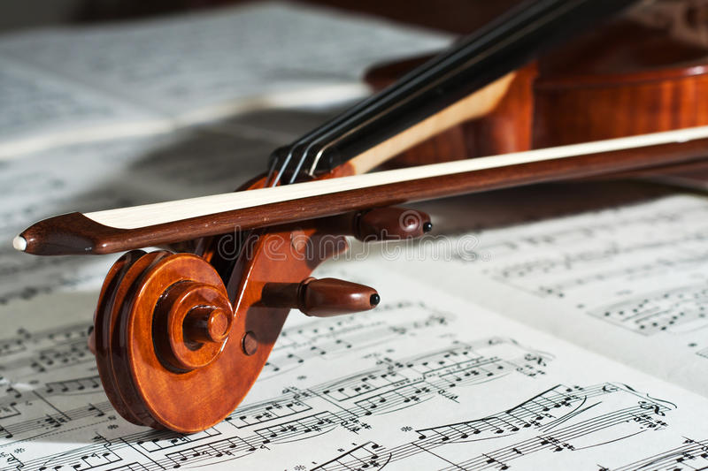 Violin. Detail of a beautiful violin with the score stock photos