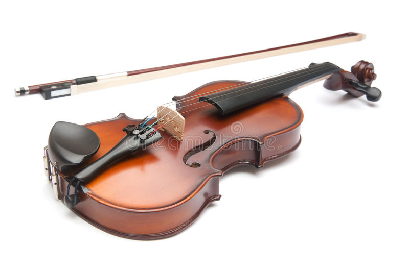 Violin. The violin isolated on white royalty free stock photography