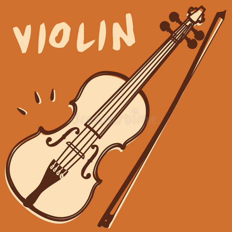 Violin vector. Illustrations of a violin and bow, retro style + vector eps file stock illustration