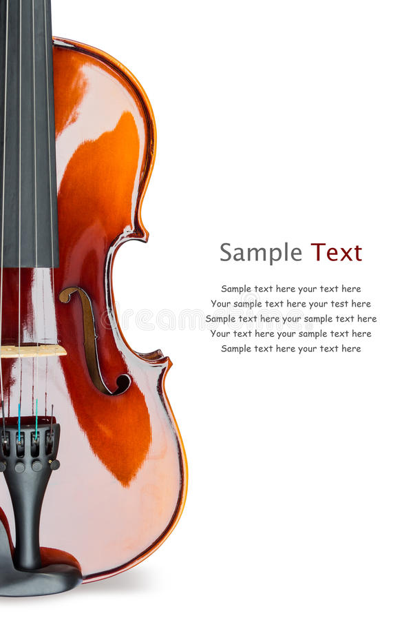Violin. Close up of shiny violin on white background, with sample text stock photo