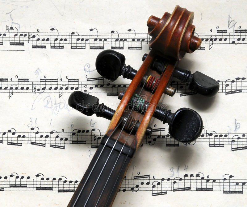 Violin. A view with a violin details on music sheets stock photo