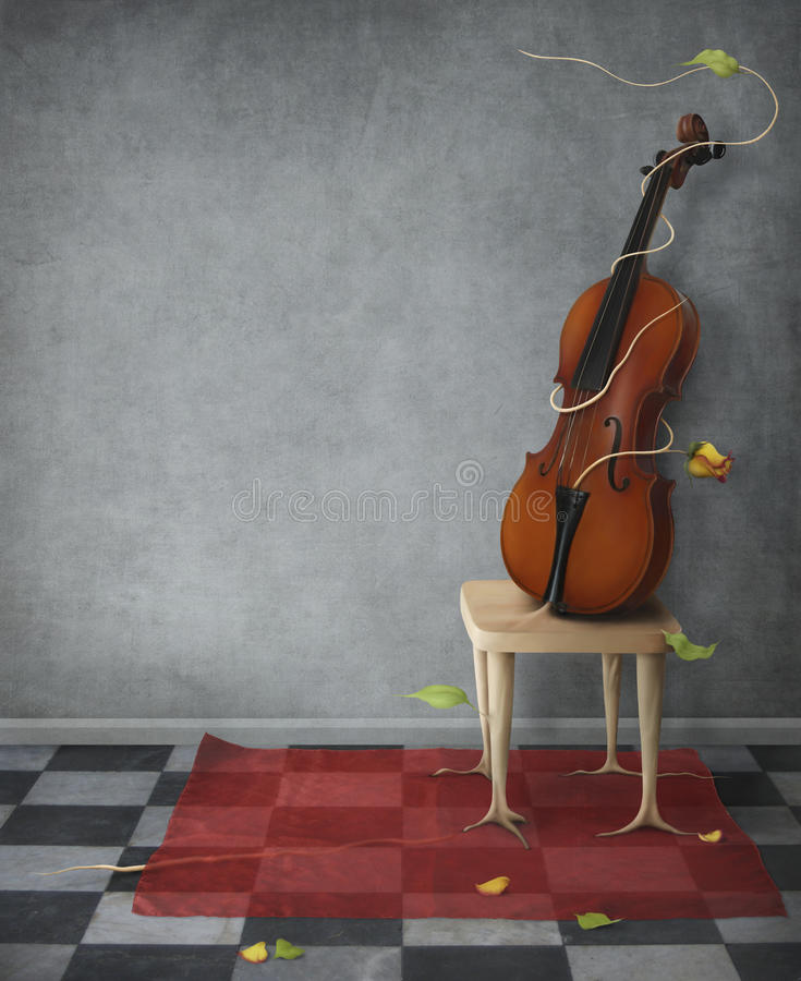 Violin. For music posters.A photo of a , stools, scarves, flowers and textures in Photoshop