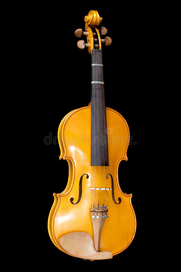 Violin on black. Full length view of violin on black background royalty free stock images