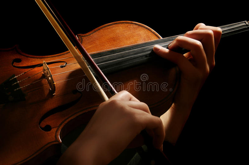 Violin on black. Violin and hands violinist isolated on black background stock photography