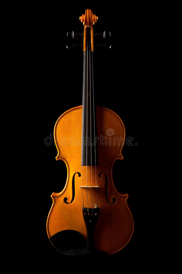 Violin on black background. With selective side light royalty free stock photo