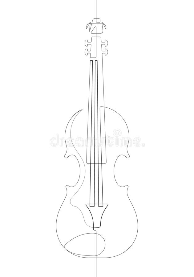 Violin Black and White One Single Continuous Line Vector Graphic Illustration vector illustration