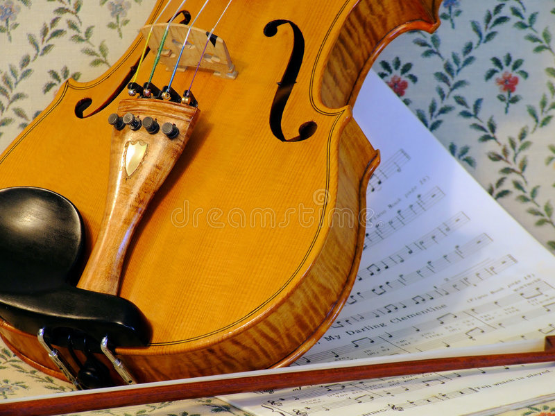 Violin and bow. Music, fiddle and bow royalty free stock image