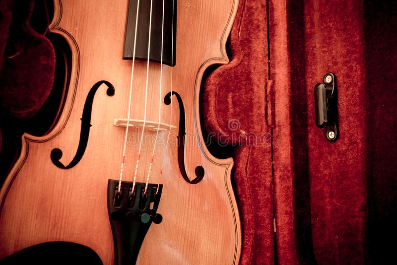 Violin and bow in dark red case. Close up view of a violin strings and bridge stock photos