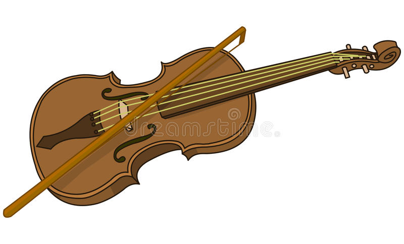 violin and bow stock vector illustration of melody note 89487193 rh dreamstime com cartoon violin drawing cartoon violinist