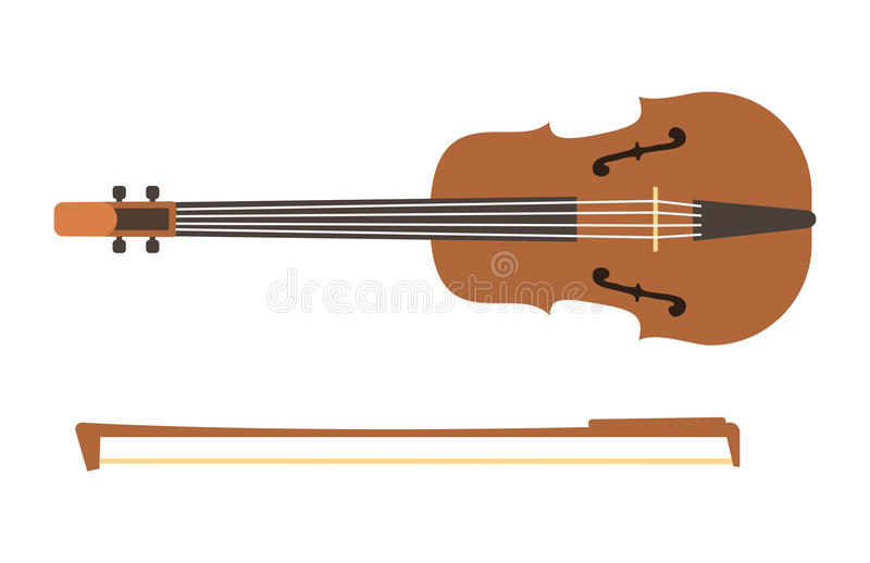 Violin with bow isolated fine performance stringed classical music art instrument and concert musical orchestra string vector illustration