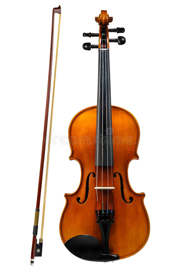 Violin with bow isolated on white royalty free stock photography