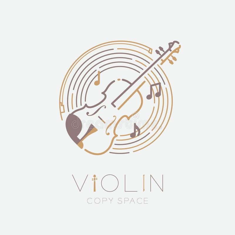 Violin, bow, music note with line staff circle shape logo icon outline stroke set dash line design illustration isolated on grey. Background with violin text vector illustration