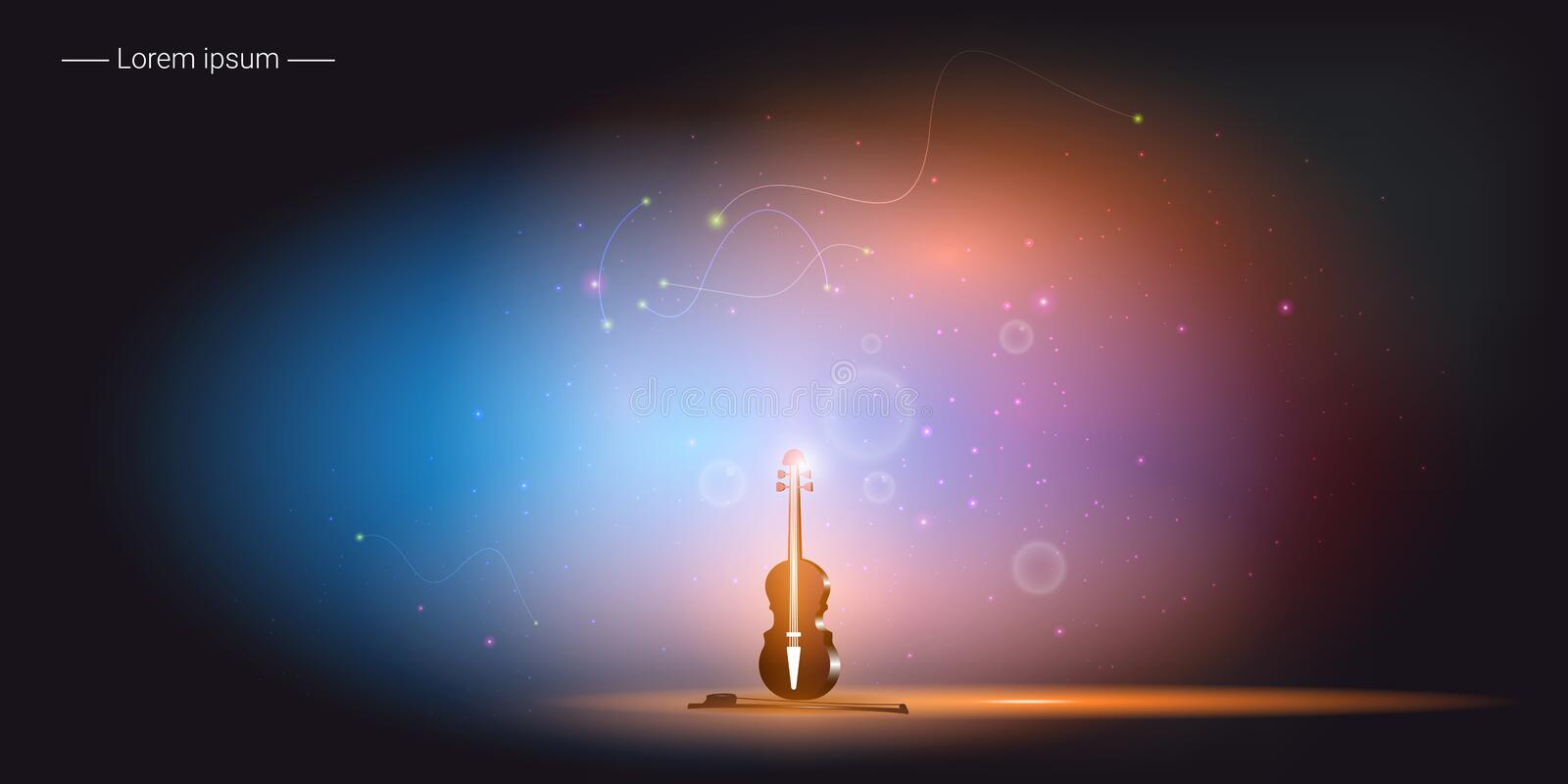 Violin and bow. Musical instrument. Vector illustration. Violin and bow on romantic and magic background. Musical instrument. Vector illustration stock illustration
