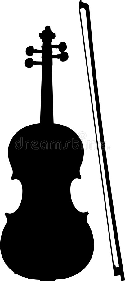 Violin and Bow Silhouette stock vector. Illustration of ...