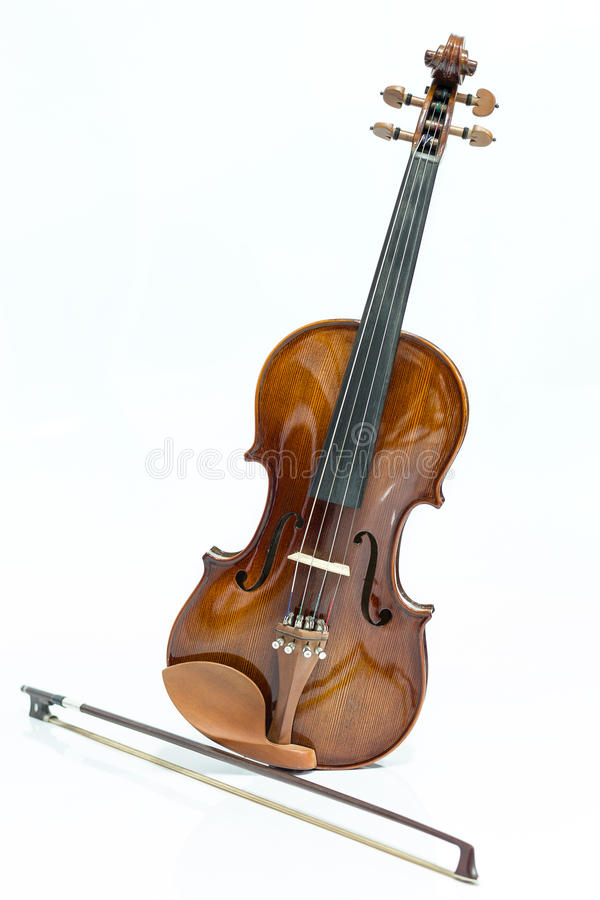 Violin and bow. On a white background royalty free stock image