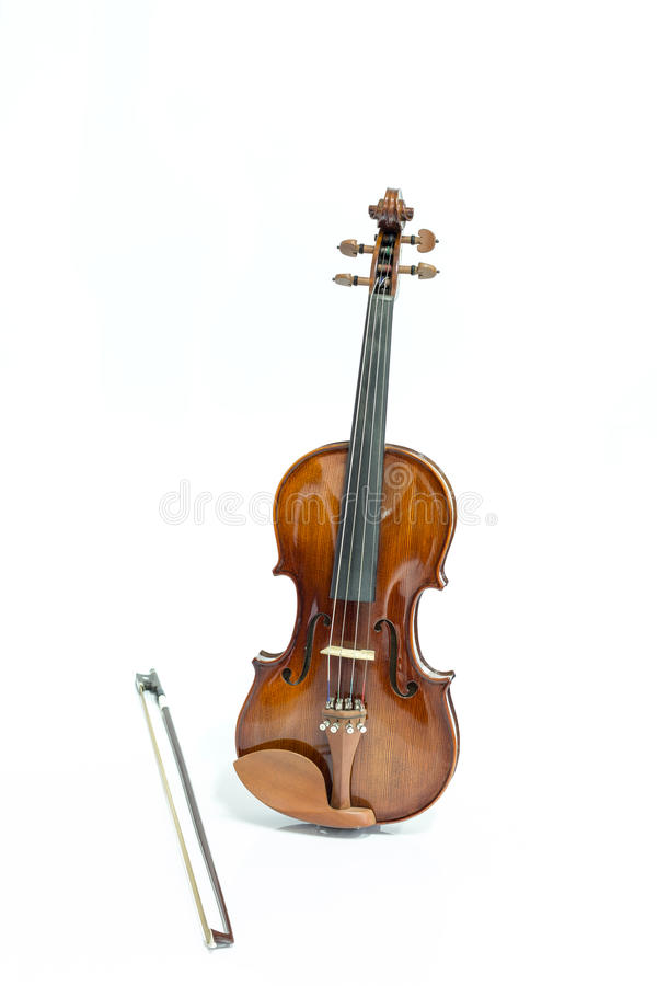 Violin and bow. On a white background royalty free stock photo