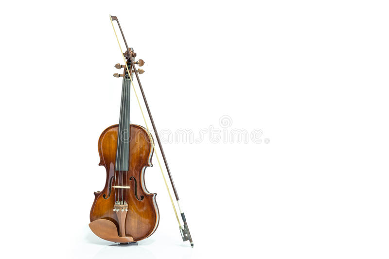 Violin and bow. On a white background stock photo