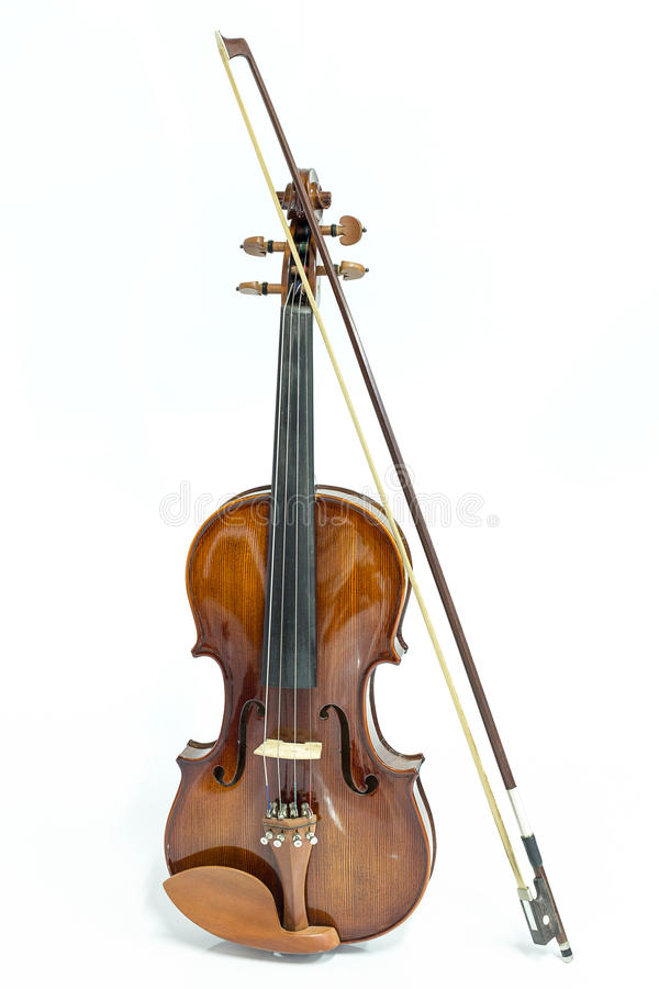 Violin and bow. On a white background stock photos