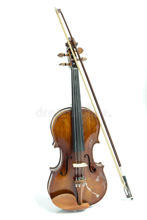 Violin and bow. On a white background royalty free stock images