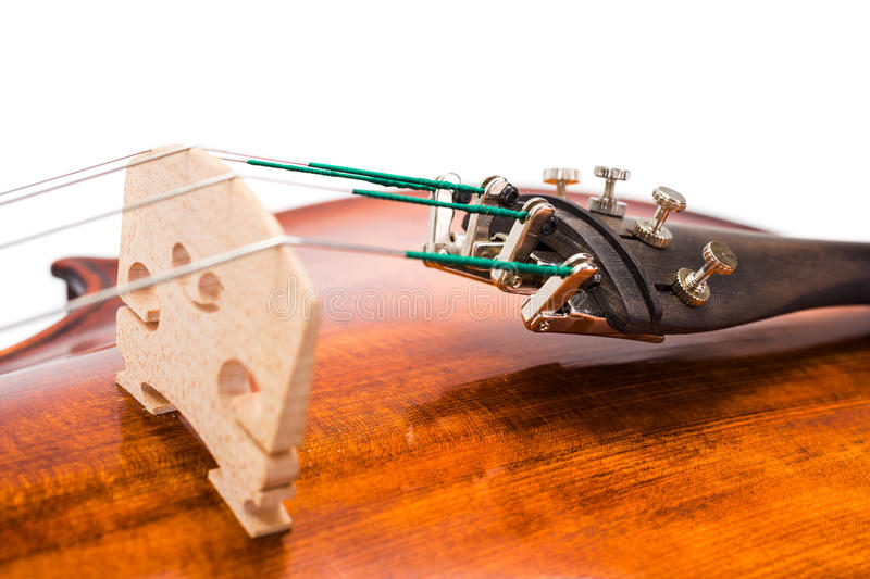 Violin bridge and fine tuners royalty free stock images