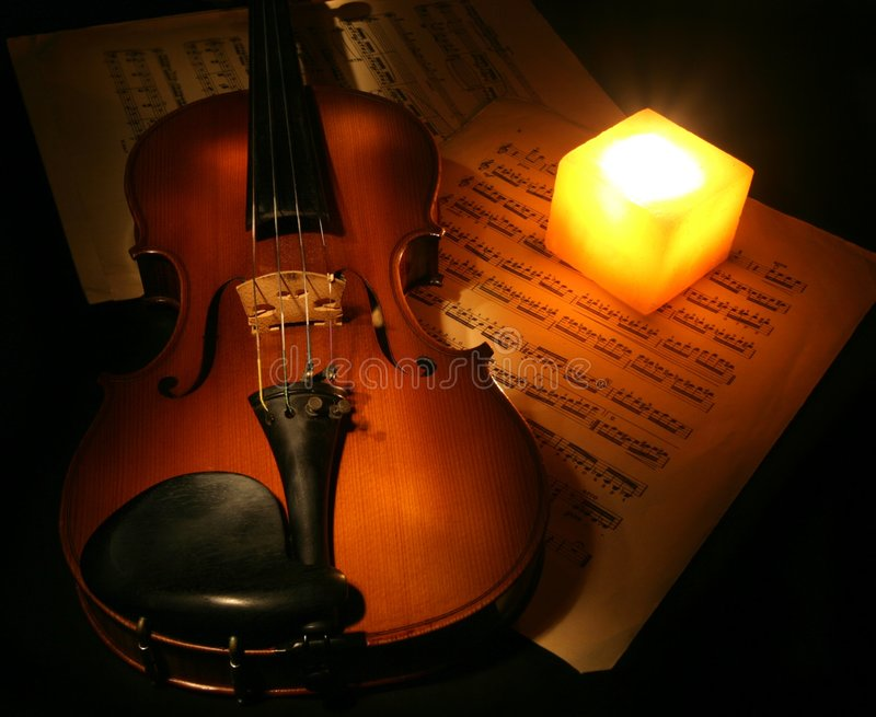 Violin and Candle royalty free stock photo