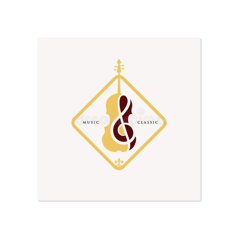 Violin / Cello logo design inspiration , classic and luxury logo designs vector illustration