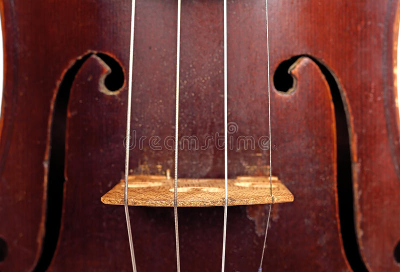 Violin. Classic vintage violin with string, extra close up royalty free stock photography