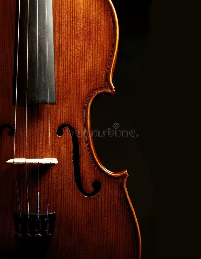 Violin close up against black