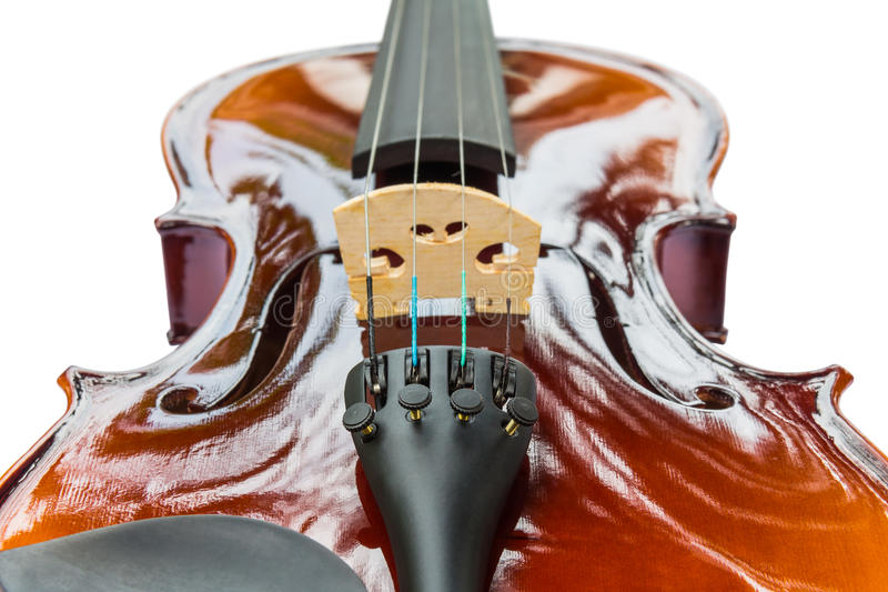 Violin. Close up of shiny violin on white background, focusing on fine tuners and tailpiece stock photos
