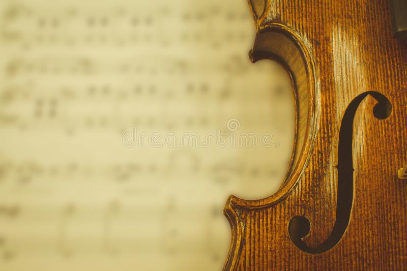 Violin Closeup over blurred sheet music royalty free stock photography