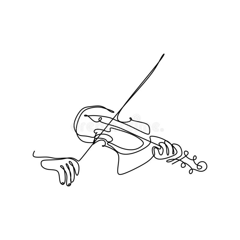 Violin continuous single line drawing vector music instrument stock illustration