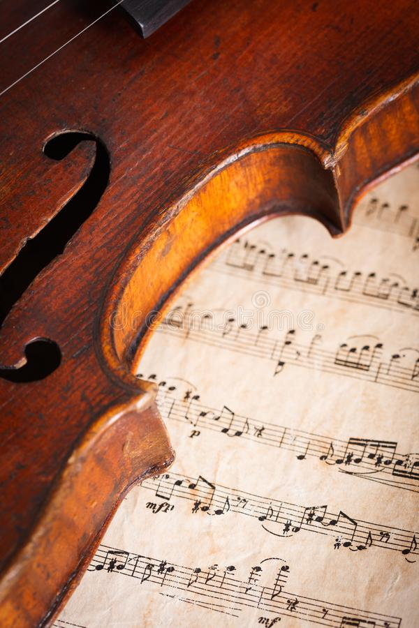 Violin detail with score. Old violin detail on musical score background royalty free stock images