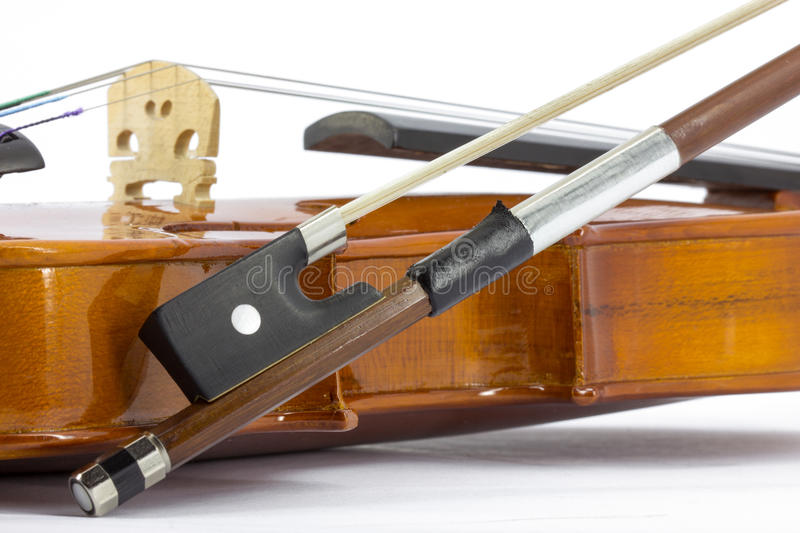 Violin. Detail of violin on the white background stock photos