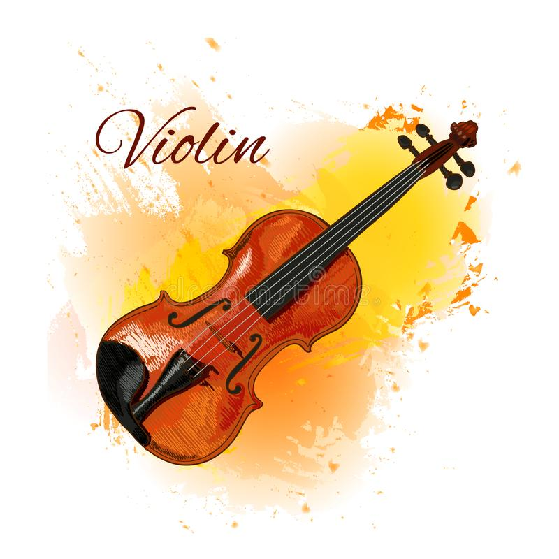 Violin detailed sketch, colored violin on paint splash background. Isolated on white VECTOR illustration with vector illustration