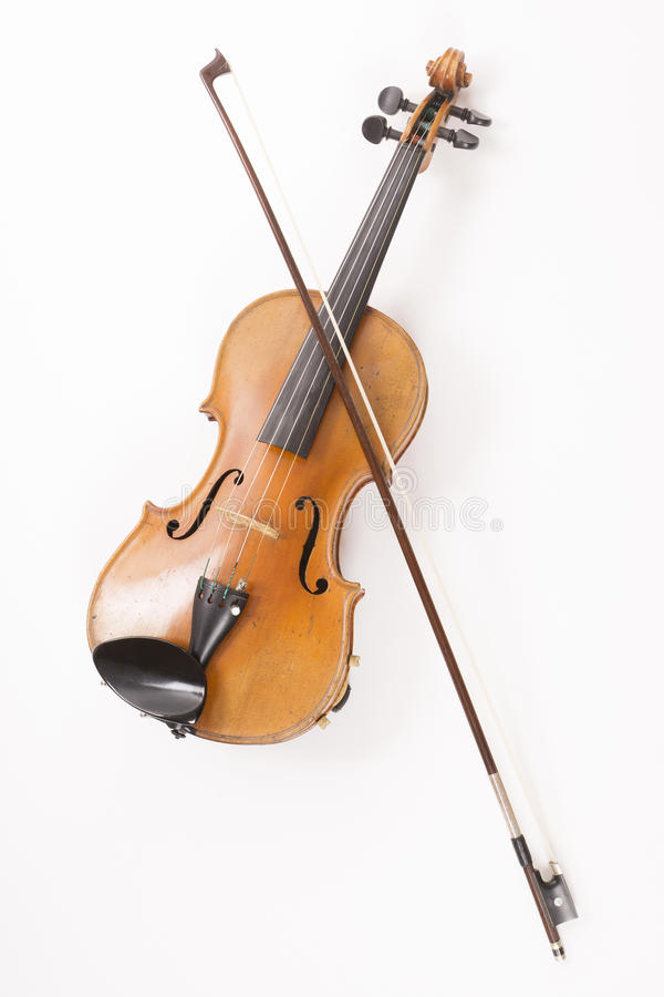 Violin or fiddle. Violin with bow or fiddle with fiddlestick on white royalty free stock images