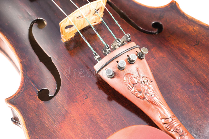 Violin or fiddle from the front side. Violin or fiddle from the front on a white background royalty free stock image