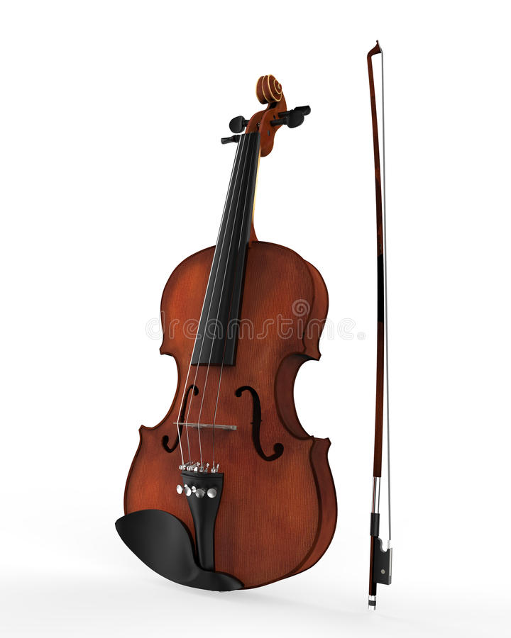 Violin and Fiddle Stick Isolated on White Background stock photos