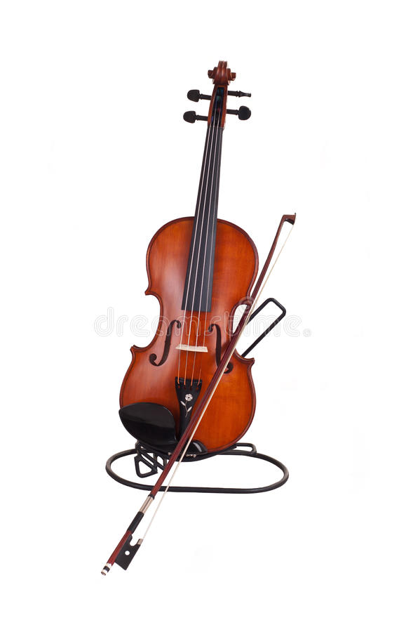 Violin and a fiddlestick. On white background stock photo
