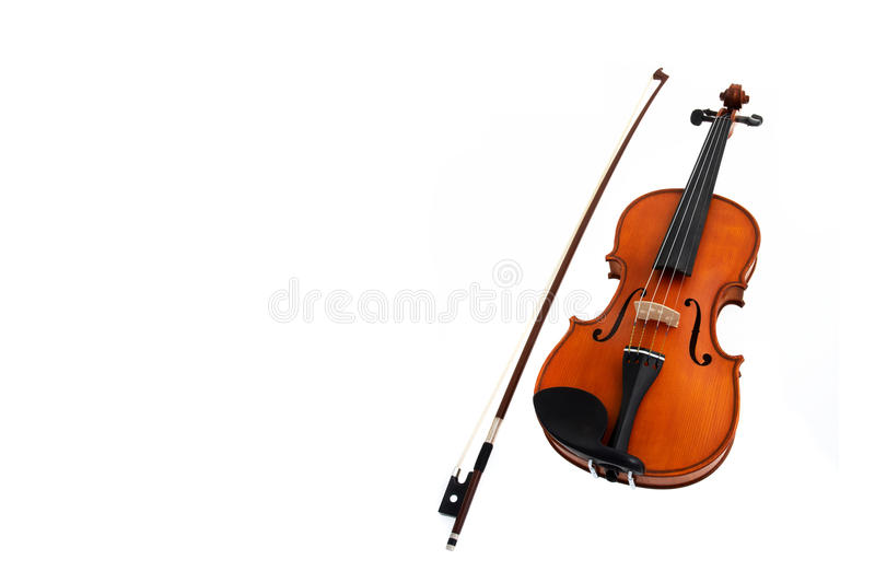 Violin with fiddlestick isolated on white. Background stock image