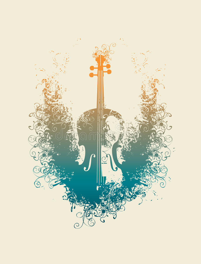 Violin with floral patterns. Vector drawing of a violin with floral patterns vector illustration