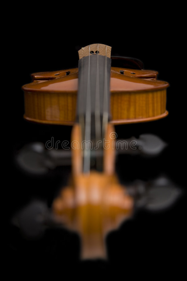 Violin with focus on the scroll. Music instrument on black background royalty free stock photography