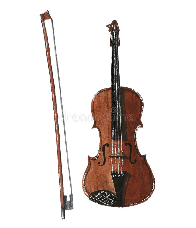 Violin front view isolated on white stock photo
