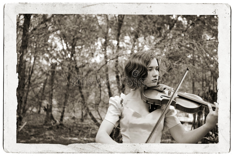 Violin Girl Antique Postcard royalty free stock image