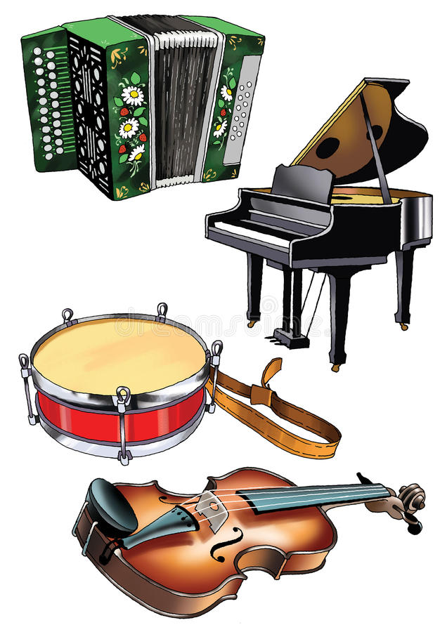 Violin grand piano accordion drum music. Harmony tool ensemble orchestra vector illustration
