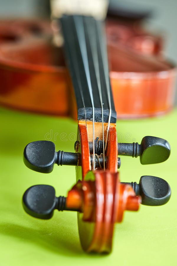 Violin on a green background, close-up. Detail of violin, abstract, alcohol, art, bar, beverage, bike, black, bottle, brown, classical, closeup, color, concept stock photography
