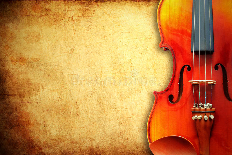 Violin on grunge paper background stock photos