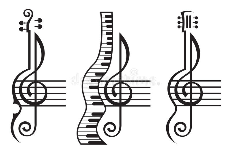 Violin, guitar, piano and treble clef. Monochrome illustration of violin, guitar, piano and treble clef stock illustration