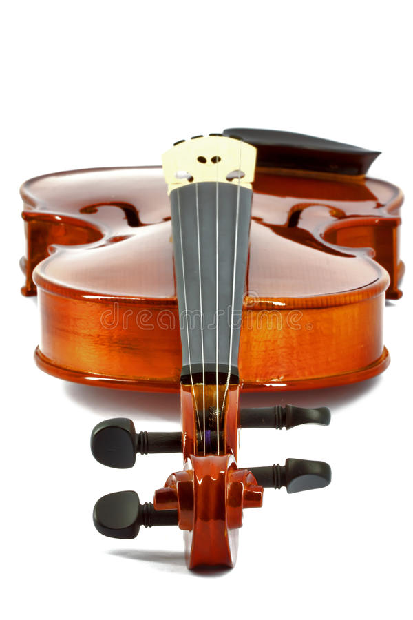 Violin horizontal. New violin isolated on white stock image