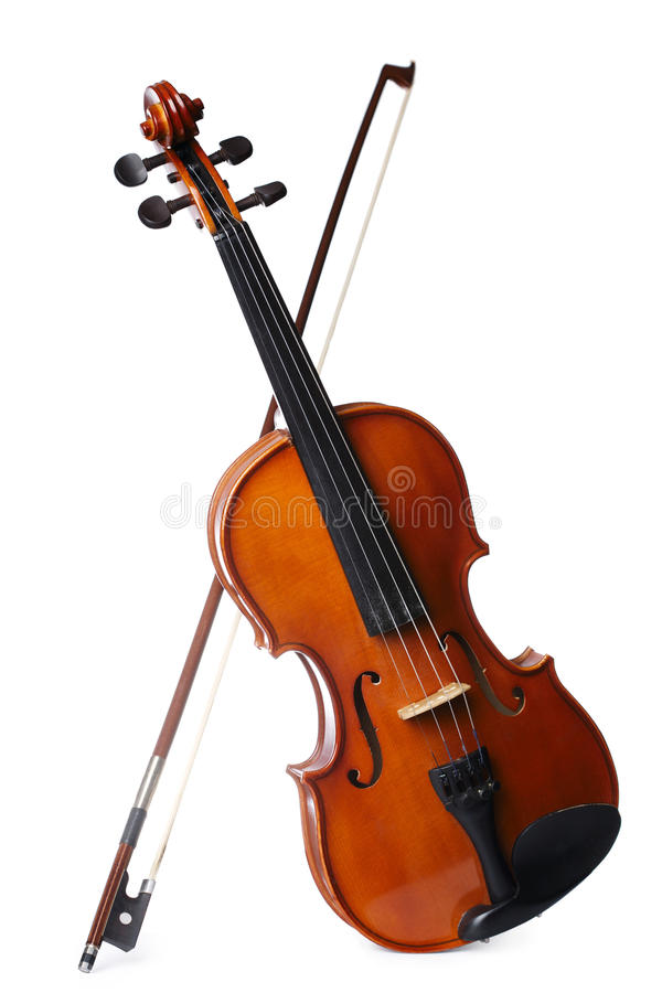 Violin isolated on white background. Aged handmade violin isolated on white background stock photography
