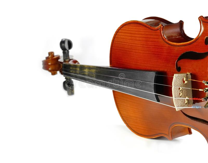 Violin isolated on white. Music background stock photography